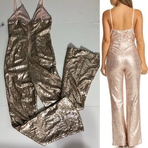 NWT rose gold sequin cut-out jumpsuit